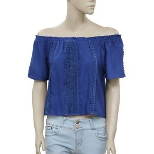 Anthropologie Off Shoulder Lace Blue Summer Top XS